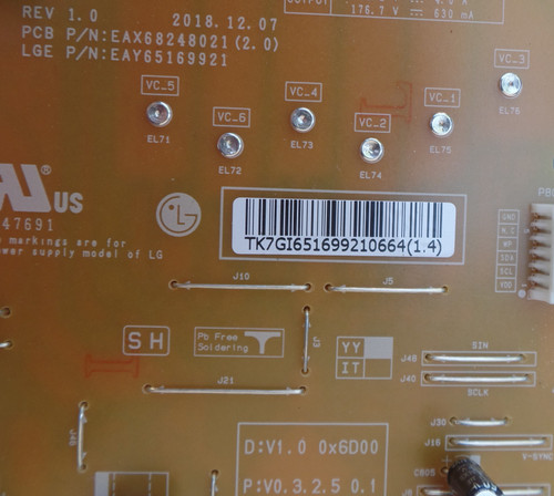EAY65169921 LG Power Supply / LED Board for 65LB7100-UB