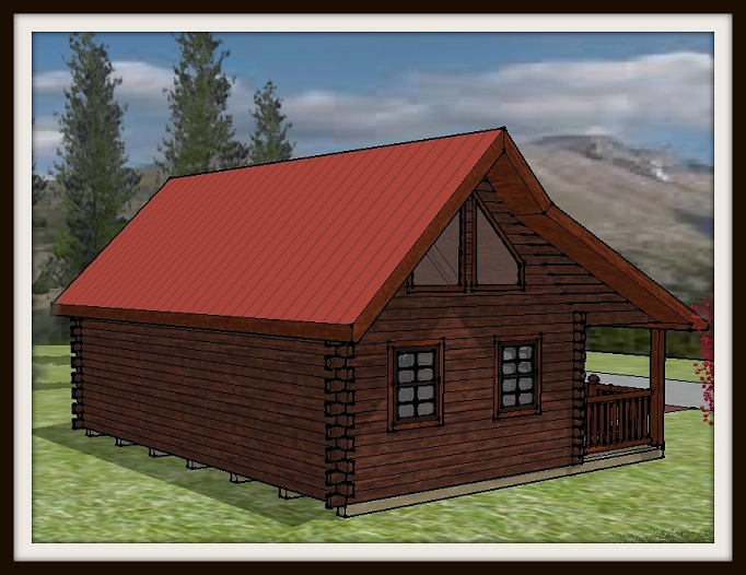 Amish Built Log Cabin drawing sketch