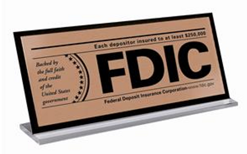 Counter FDIC Signs with Backplate Laminate sign on Plexiglas base