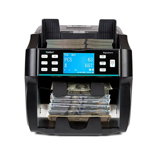 Kolibri Signature Currency Discriminator, 2-Pocket Mixed Currency Counter with Counterfeit Detection + Printer