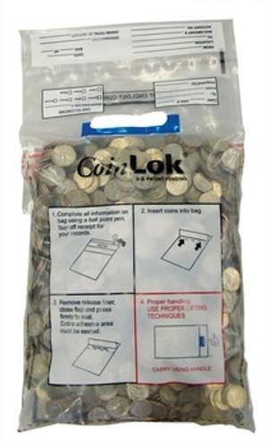 Tamper Evident CoinLOK 10 x 19 Coin Deposit Bag, HB7391012 (250 Per Case)