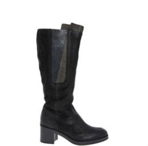 Black Long Knee Leather Boots