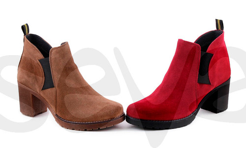 Suede Heeled ankle boots - Red