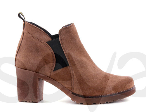 Suede Heeled ankle boots - Toupe