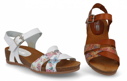 Floral White Leather Sandals