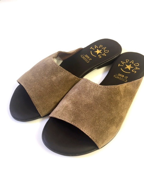 Taupe Suede Slippers
