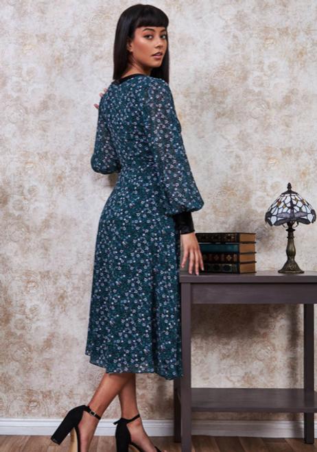 Printed Necktie Midi Dress - Emerald