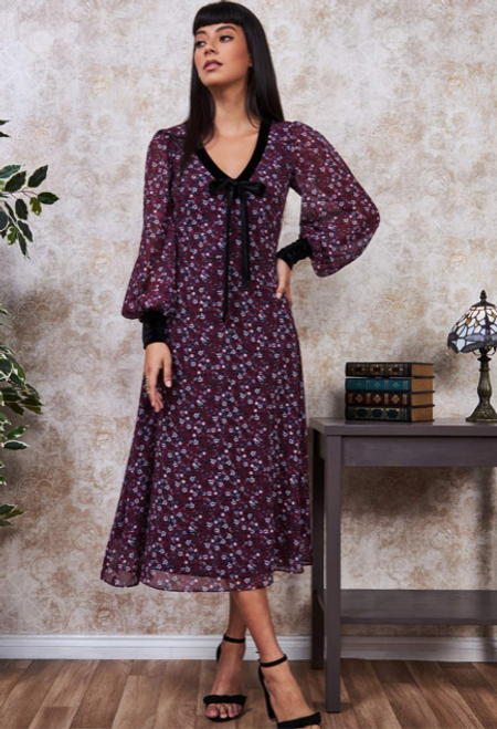 Printed Necktie Midi Dress - Wine