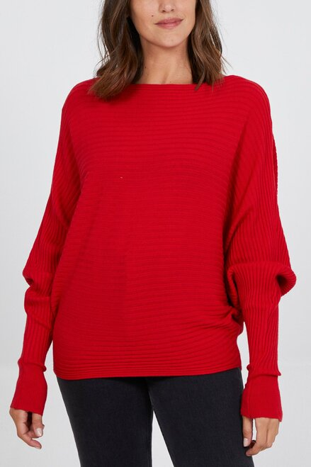 Batwing Ribbed Jumper - Red