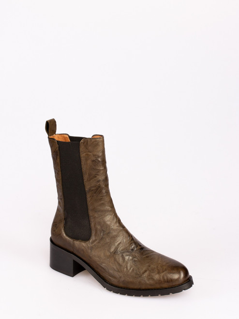 Forest Green mid calf leather boots