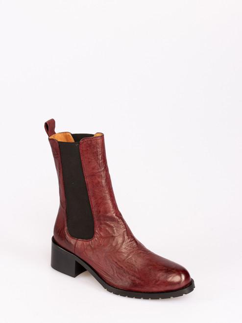 Bordeaux mid calf leather boots