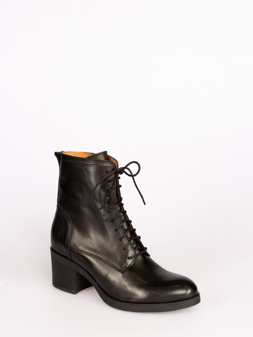 Mid heel lace up boots - Black
