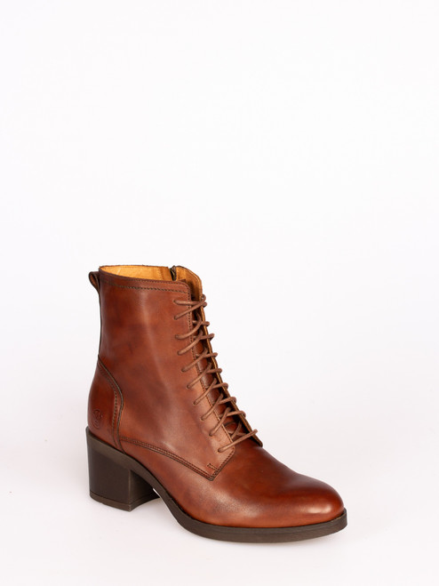Mid heel lace up boots - Tan