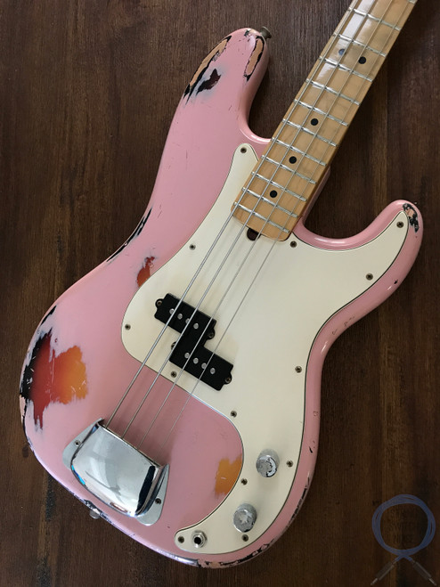1977 Precision Bass, Shell Pink, Relic/Road Worn (Aria Pro II)