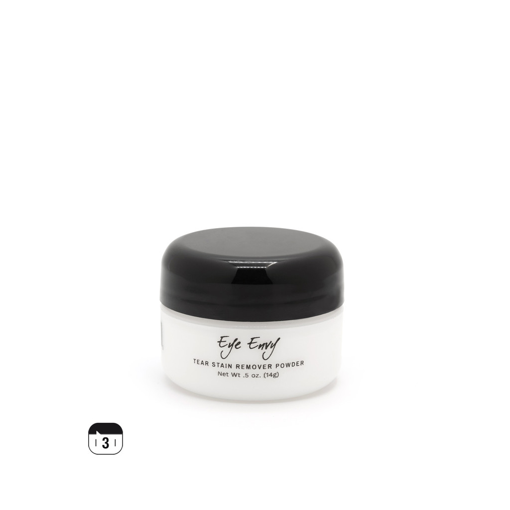 Step 3 – Dry: Eye Envy Tear Stain Remover Powder absorbs moisture, repels tears, and gradually inhibits bacteria growth.