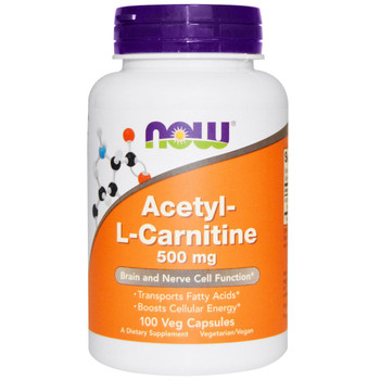 NOW Acetyl-L-Carnitine 500 mg, 100 Capsules