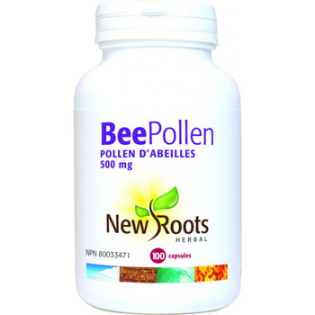 New Roots Bee Pollen 500 mg, 100 Capsules