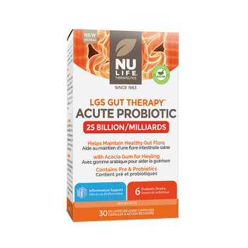 NU LIFE Therapeutics Acute Probiotic (25 Billion) 30 Delayed Release Capsules