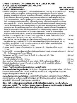 Nu-Life Energy 180 Caplets Ingredients