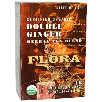 Flora Teas Organic Double Ginger Herbal Tea, 35.2 mg
