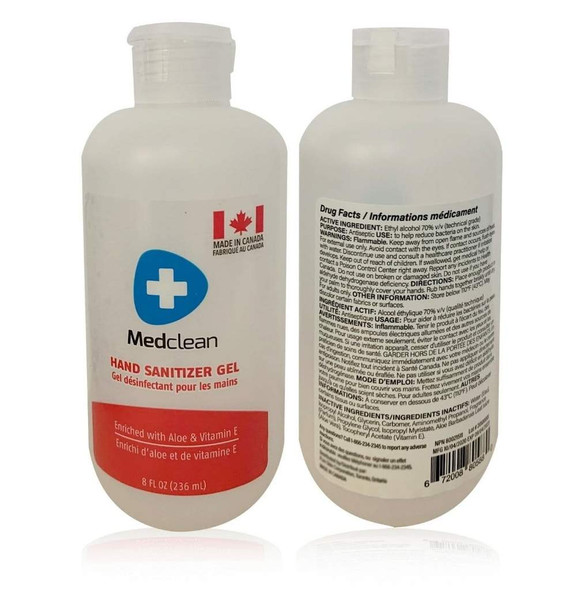 MEDCLEAN HAND SANITIZER GEL (70% ETHYL ALCOHOL) 236 ml  Enriched with Aloe & Vitamin E