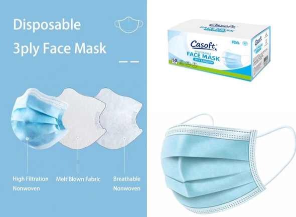 Disposable Face Mask 3PLY Earloop 50 Pcs