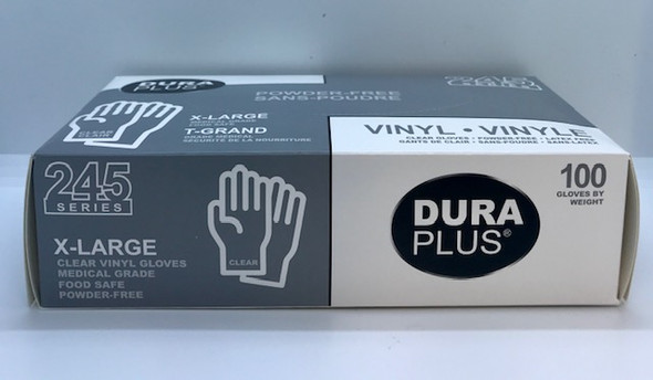 DURA PLUS VINYL GLOVES EXTRA LARGE 100