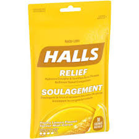 HALLS BAG HNY LEM 30 lozenges