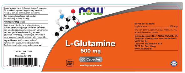 NOW L-Glutamine 500 mg, 60 Capsules