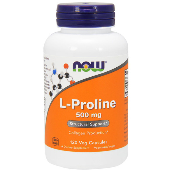 NOW L-Proline 500 mg, 120 Capsules