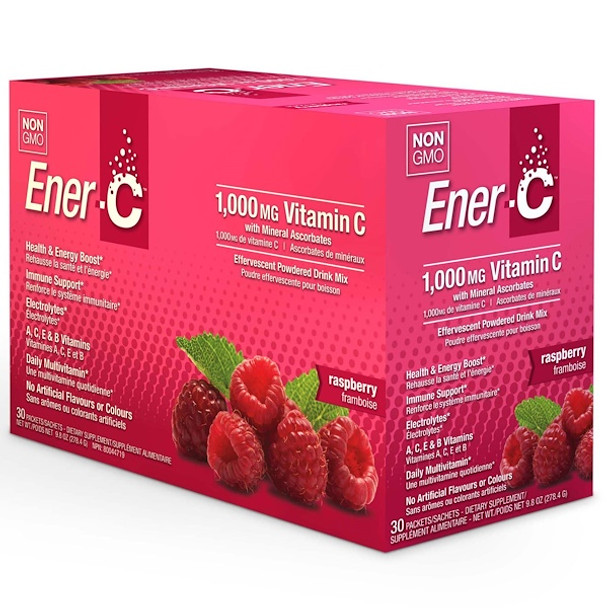 Enter-C Effervescent Drink Mix with 1000mcg of Vitamin C (Raspberry)