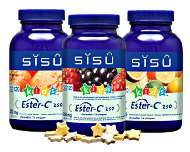 SISU Ester-C® Chewable 250mg Natural Orange KIDS, 120 Star Tablets
