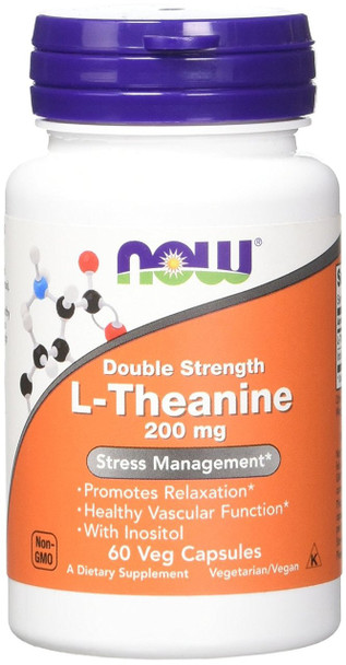 NOW L-Theanine 200mg, 60 Capsules