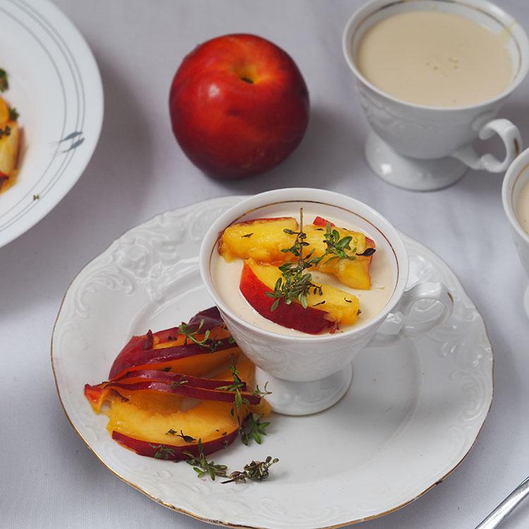 Lemon Thyme Panna Cotta With Sliced Nectarines