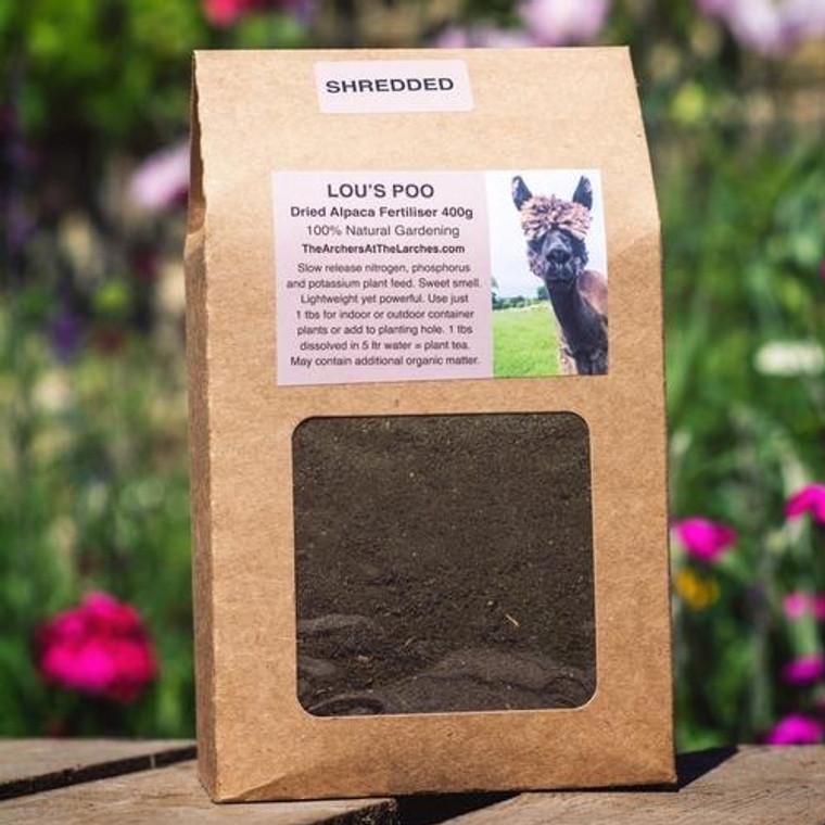Lou's Poo, Dried Alpaca Fertiliser SHREDDED 400g
