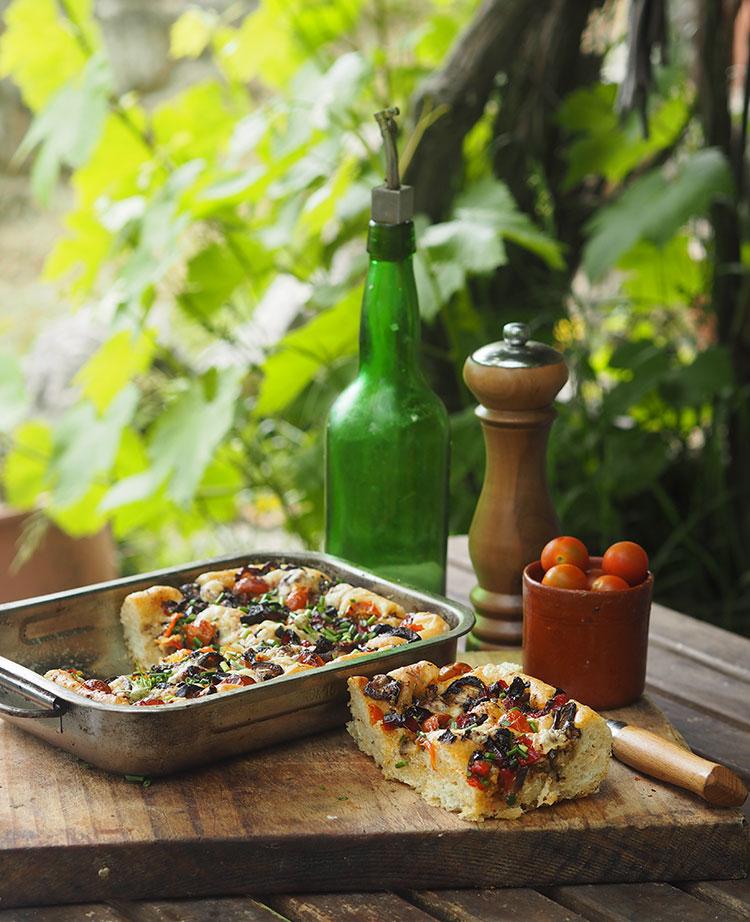 Garlic chive mediterranean focaccia