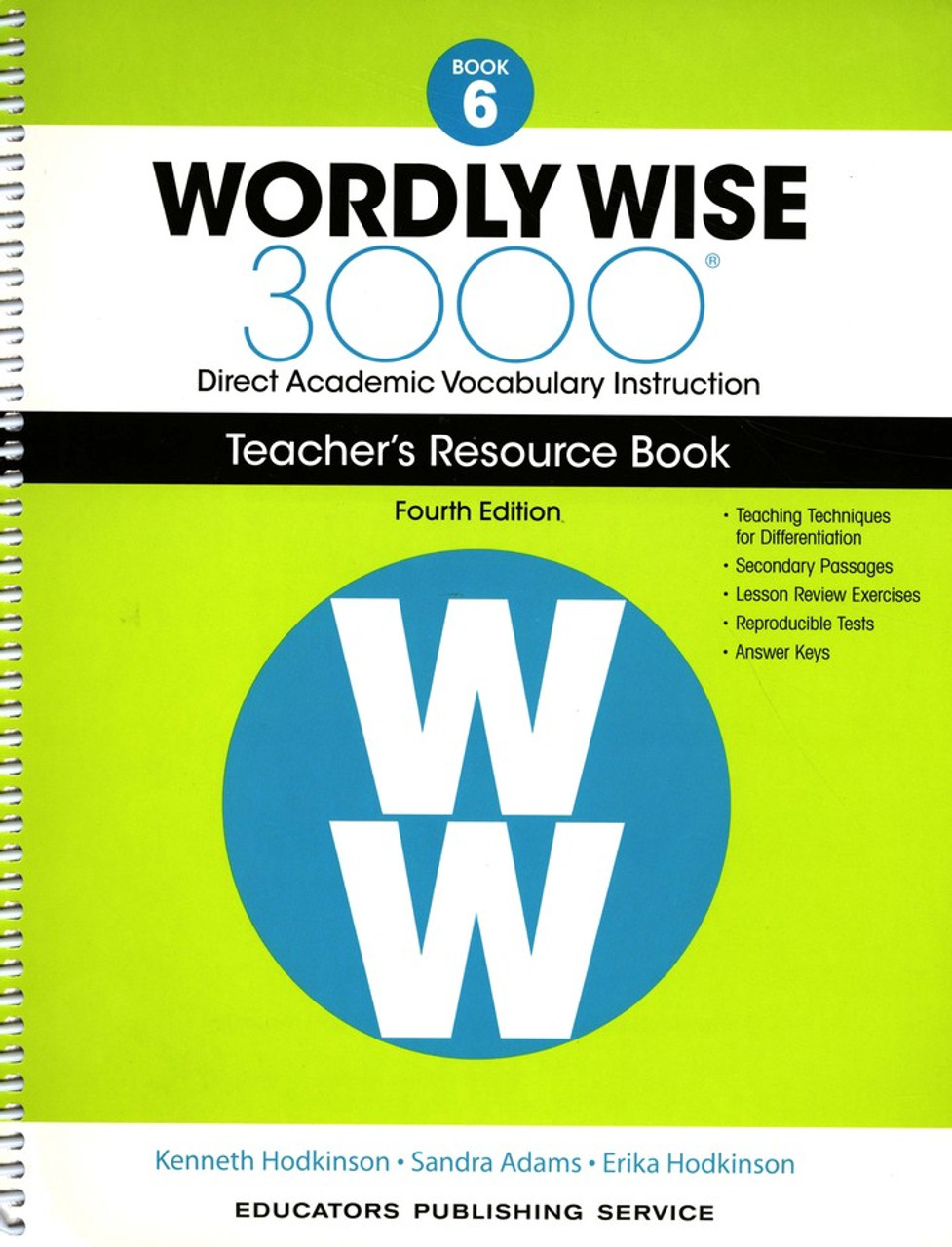 Wordly Wise 3000 4th Edition Book 6 Teacher Resource Book