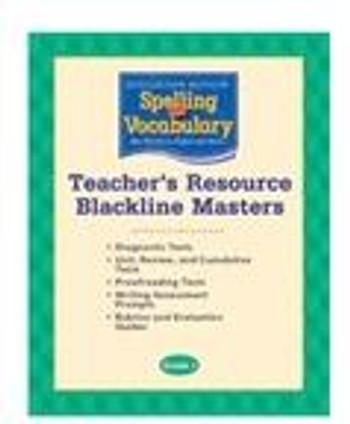 Houghton Mifflin Spelling & Vocabulary Teacher's Resource Blackline Masters