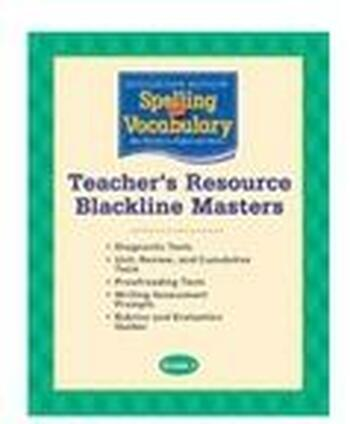 Houghton Mifflin Spelling Vocabulary Grade 3 Teacher S Resource Blackline Masters