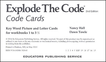 Explode the Code - Code Cards for Books 1-3 1/2
