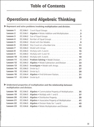 On Core Mathematics - Houghton Mifflin Harcourt - Grade 3 Toc page 1