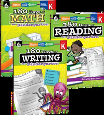 180 Days of Reading, Writing, and Math Grade K Bundle: 4 Book Set