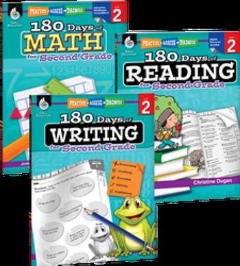 180 Days of Reading, Writing, and Math Grade 2 Bundle: 4 Book Set