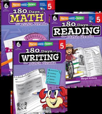 180 Days of Reading, Writing, and Math Grade 5 Bundle: 4 Book Set