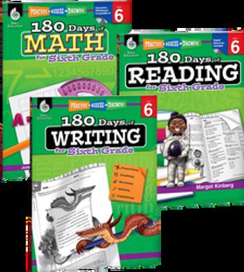 180 Days of Reading, Writing, and Math Grade 6 Bundle: 4 Book Set