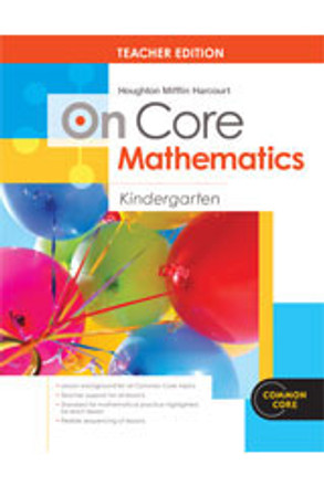On Core Math Houghton Mifflin Harcourt Grade K Teacher Edition Without Blackline Master