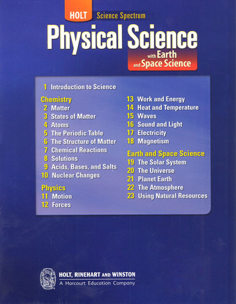 Holt Physical Science With Earth And Space Science Teacher Student Package