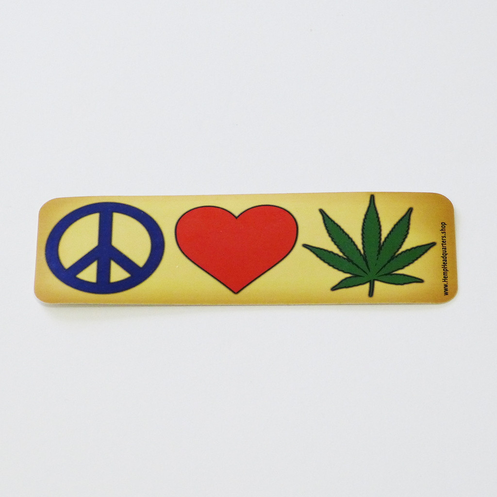 Hemp Headquarters - Peace, Love and Cannabis sticker