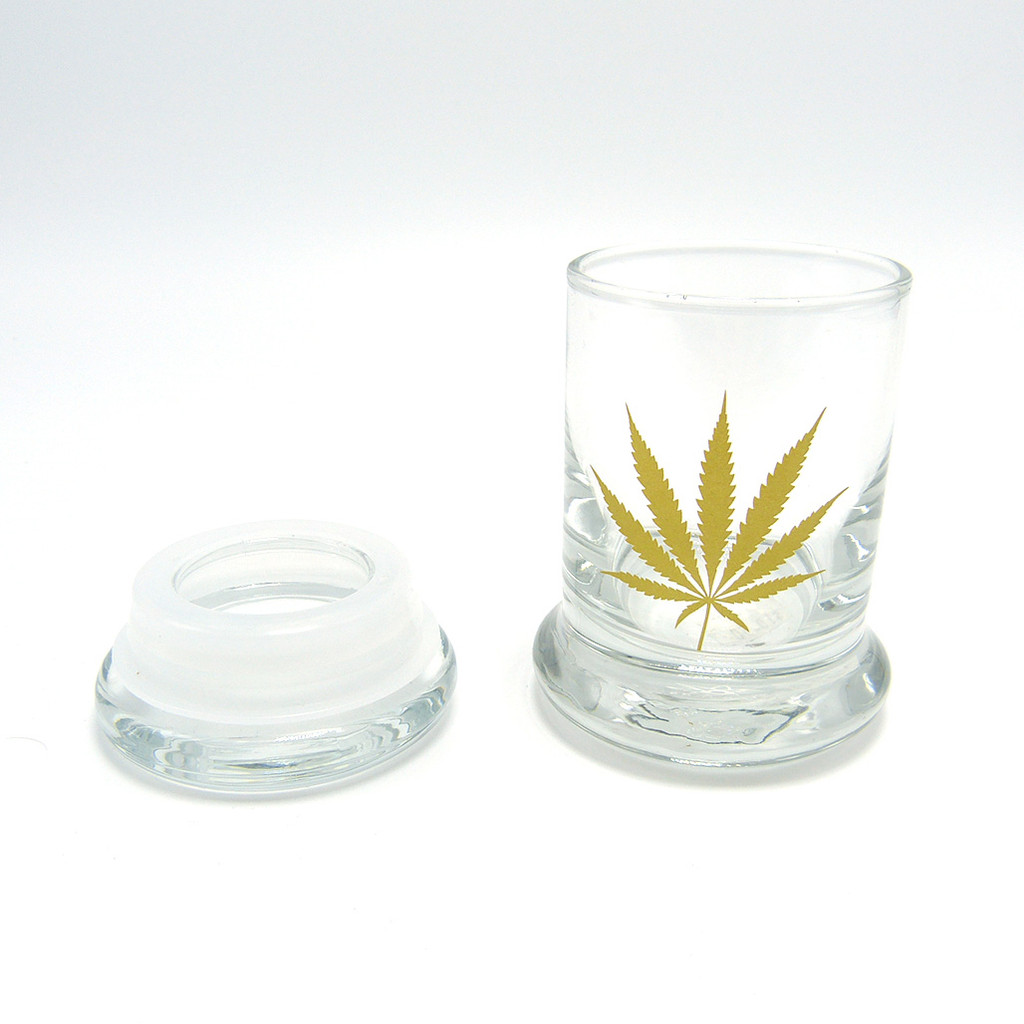 Glass Jar with Cannabis Leaf by 420 Science (Small)