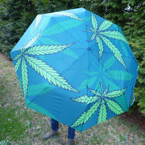 Umbrella with Hemp Leaves